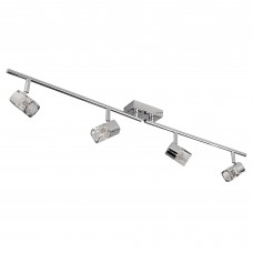 Blocs - 4 Light Spotlight Split-Bar, Chrome, Clear Glass (Ice Cube)