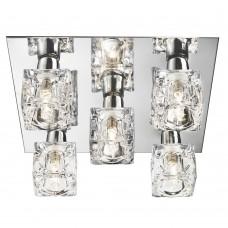 Ice  Cube - Led 5 Light Ceiling Flush, Chrome, Clear Ice Cube Glass