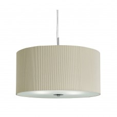 Drum Pleat Pendant - 3 Light Pleated Shade Pendant, Cream With Frosted Glass Diffuser Dia 40Cm
