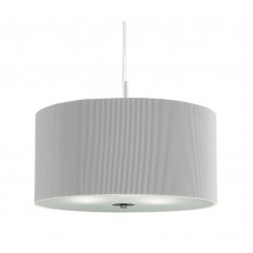 Drum Pleat Pendant - 3 Light Pleated Shade Pendant, Silver With Frosted Glass Diffuser Dia 40
