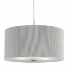 Drum Pleat Pendant - 3 Light Pleated Shade Pendant, Silver With Frosted Glass Diffuser Dia 60