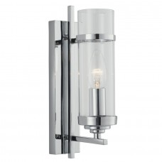 Milo Chrome 1 Light Wall Bracket -Clear Glass Cylinder Shade