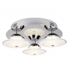 Kara Led 3 Light Ceiling Flush, Chrome, Crushed Ice Effect Glass Shade