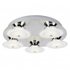Kara Led 5 Light Ceiling Flush, Chrome, Crushed Ice Effect Glass Shade