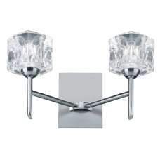 Ice Cube - Led 2 Light Wall Bracket, Clear Glass, Satin Silver