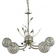 Bellis Ii - 5 Light Ceiling, Antique Brass, Clear Glass Deco Shade