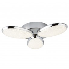 Lori 3 Light Led Ceiling Flush, Crushed Ice Effect Shade, Chrome