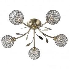 Bellis Ii - 5 Light Ceiling Semi-Flush, Antique Brass, Clear Glass Deco Shade