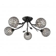 Bellis Ii - 5 Light Ceiling Semi-Flush, Black Chrome, Clear Glass Deco Shade