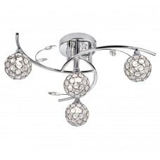 Dimple  4 Light Chrome Semi Flush - Round Shades / Chrome Hoops/Glass Buttons