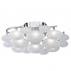 Dulcie 8 Light Chrome Flush Wh Glass Pebbles