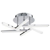 Modern Led 6 Arm Ceiling Semi-Flush, Chrome, Frosted Acrylic